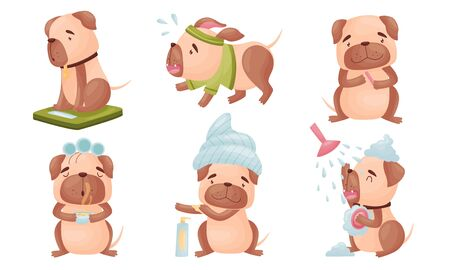 Cartoon Puppy Grooming Himself Applying Body Cream and Drinking Hot Herbal Tea Vector Set 向量圖像