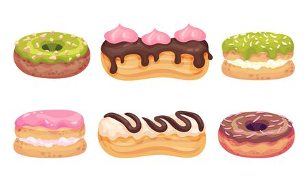 Glazed Doughnuts and Eclair Made from Choux Pastry Vector Set Illustration