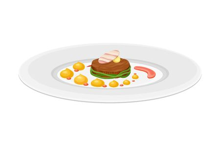 Grande Cuisine with Meticulous Food Preparation and Serving on Plate with Fancy Garnish Vector Illustration. Gastronomy Plating for Gourmet Restaurants Concept