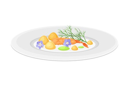 Grande Cuisine with Meticulous Food Preparation and Serving on Plate with Fancy Garnish Vector Illustration