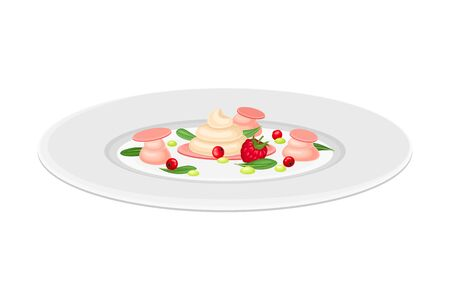 Haute Cuisine or Grande Cuisine with Meticulous Dessert with Berries Preparation and Serving on Plate Side View Vector Illustration