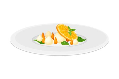 Haute Cuisine or Grande Cuisine with Meticulous Dessert with Citrus Fruit Preparation and Serving on Plate Side View Vector Illustration