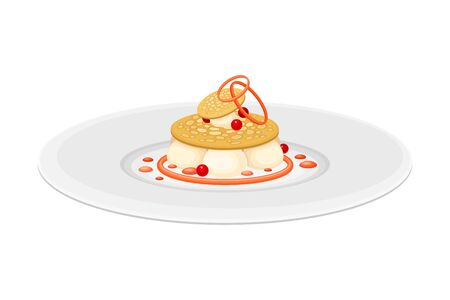 Haute Cuisine or Grande Cuisine with Meticulous Dessert with Berries Preparation and Serving on Plate Side View Vector Illustration. Ilustração