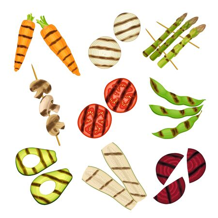 Grilled Skewered Vegetables and Mushrooms Isolated on White Background Vector Set  イラスト・ベクター素材