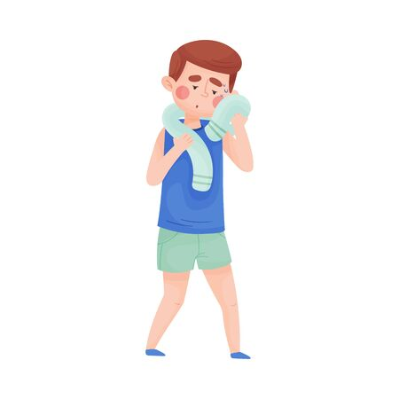 Boy Mopping His Forehead with Towel From Sweat Because of Hot Weather Vector Illustration. High Summer Temperatures and People Suffering From It Concept