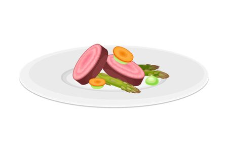 Haute Cuisine with Vegetables Meticulously Prepared and Served on Plate with Fancy Garnish Vector Illustration. Gastronomy Plating for Gourmet Restaurants Concept