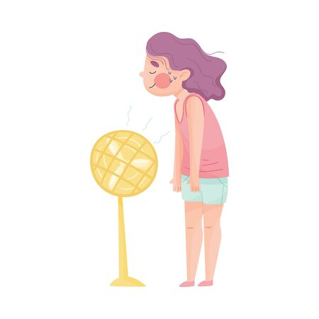 Young Girl Standing in Front of Fan and Enjoying Because of Hot Weather Vector Illustration