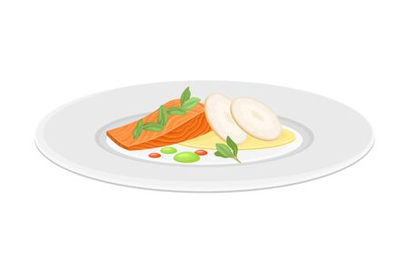 Haute Cuisine with Meticulous Seafood Preparation and Serving on Plate with Fancy Garnish Vector Illustration. Gastronomy Plating for Gourmet Restaurants Concept Vettoriali
