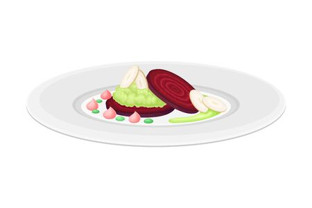 Haute Cuisine with Beet Meticulously Prepared and Served on Plate with Fancy Garnish Vector Illustration. Gastronomy Plating for Gourmet Restaurants Concept Ilustração