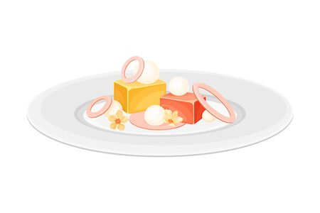 Haute Cuisine with Food Meticulously Prepared and Served on Plate with Fancy Garnish Vector Illustration