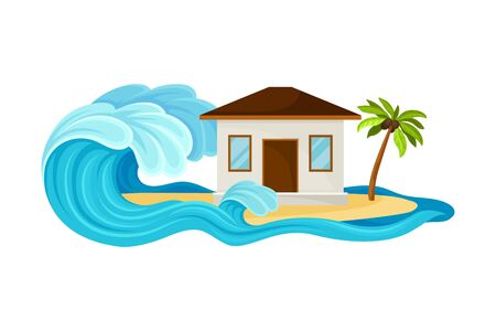 Tsunami Wave Approaching Residential House Standing on Beach Vector Illustration Çizim
