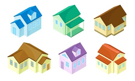 Isometric Houses and Buildings Isolated on White Background Vector Set