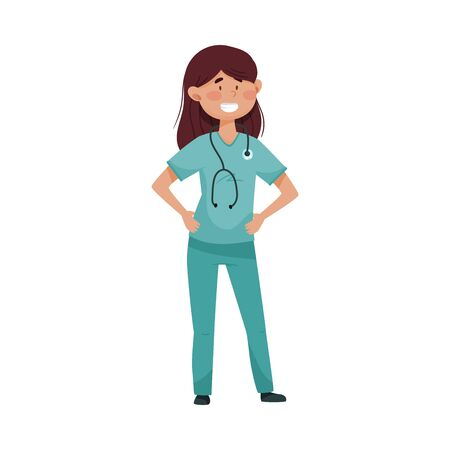 Smiling Woman Doctor with Stethoscope Hanging on Her Neck Wearing Medical Uniform Vector Illustration