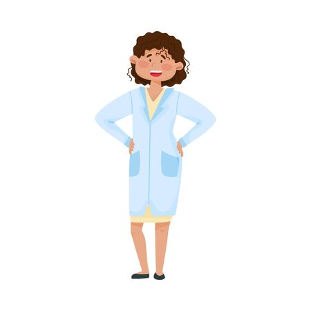 Smiling Woman Doctor in Medical Uniform Standing with Her Arms at Hips Vector Illustration. Medical Staff and Health Care Professional Working in Hospital Concept