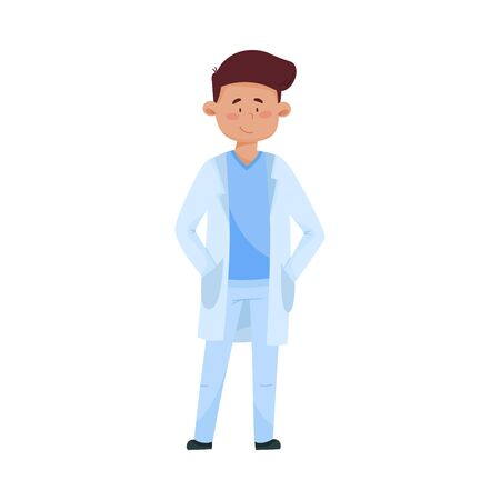 Young Man Doctor in Medical Uniform Standing with His Hands in His Pockets Vector Illustration 向量圖像