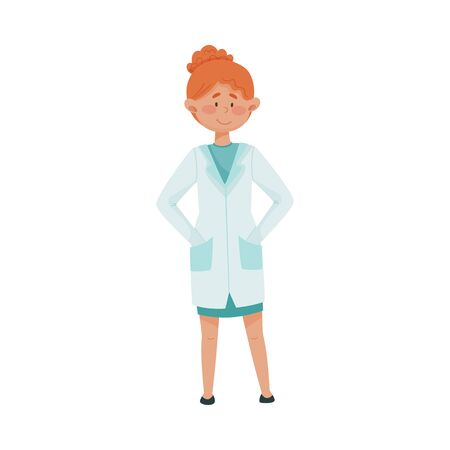 Young Woman Doctor in Medical Uniform Standing with Her Hands in Her Pockets Vector Illustration Иллюстрация