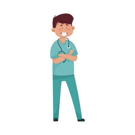 Smiling Man Doctor with Stethoscope and in Medical Uniform Folding His Arms on the Chest Vector Illustration. Medical Staff and Health Care Professional Working in Hospital Concept