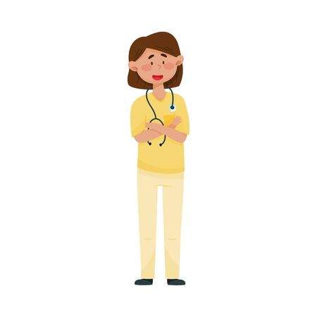 Dark-haired Woman Doctor with Stethoscope and in Medical Uniform Folding Her Arms on the Chest Vector Illustration. Medical Staff and Health Care Professional Working in Hospital Concept Ilustracja