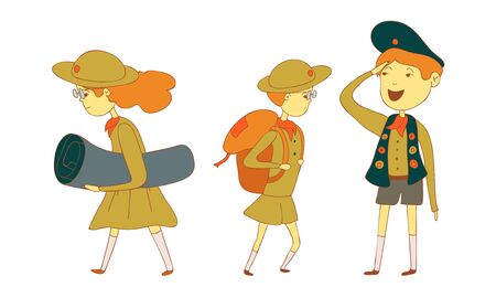 Kids Scouts Carrying Backpacks and Hiking Vector Illustrations Set. Boys and Girls Engaged in Scout Movement Concept