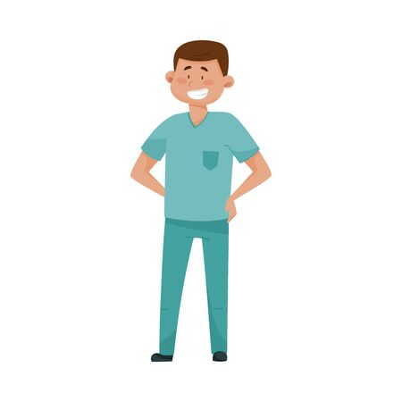 Dark Haired Man Doctor in Medical Uniform Standing with His Arms at Hips Vector Illustration. Medical Staff and Health Care Professional Working in Hospital Concept