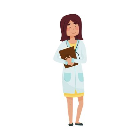Woman Doctor in Medical Uniform Standing with Clip Board Vector Illustration