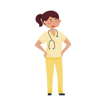 Smiling Woman Doctor in Medical Uniform Standing with Her Arms at Hips Vector Illustration