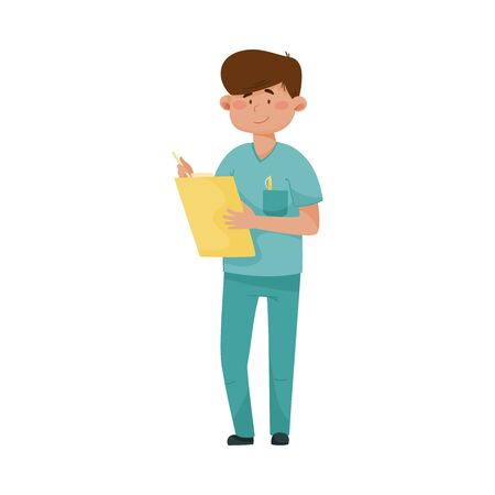 Young Man Doctor in Medical Uniform Standing and Holding Clip Board Vector Illustration