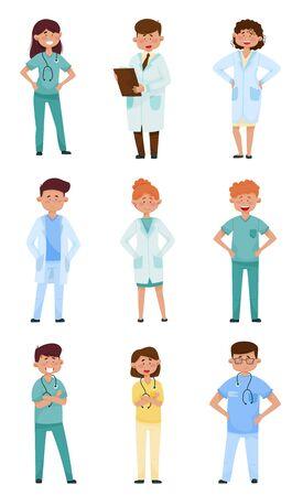Smiling Man and Woman Doctors Wearing Medical Uniform Vector Illustrations Set