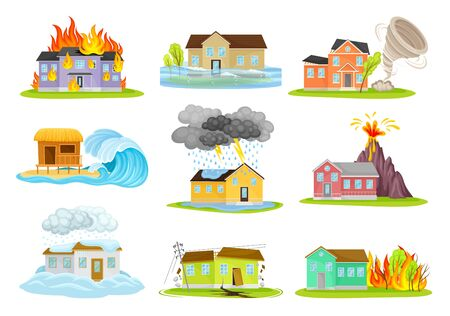 Houses Undergoing Natural Disasters Like Fire and Tornado Vector Set