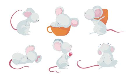 Cartoon Mouse Character with Long Pink Tail Crying and Sleeping in Big Cup Vector Set. Funny Big Eared Rodent for Kids Book Illustration Concept