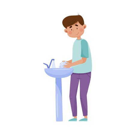 Man Character Washing Hands with Antibacterial Soap for Disinfection Vector Illustration