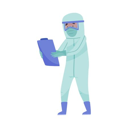 Man in Protective Suit and Mask Carrying Clip Board with Blood Test Result Vector Illustration
