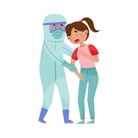 Young Woman with Coronavirus Symptoms and Doctor in Protective Suit Lending Aid to Her Vector Illustration Illustration