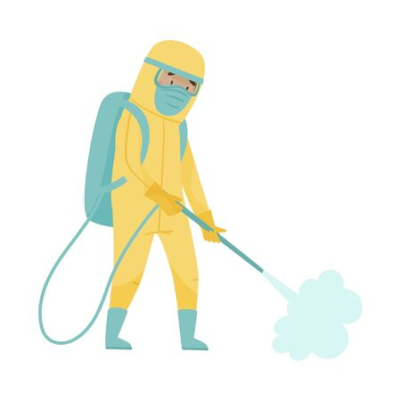 Man in Protective Suit and Mask Standing with Decontamination Equipment Disinfecting City Street Vector Illustration
