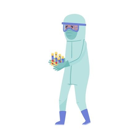 Man in Protective Suit and Mask Carrying Test Glass for Examining Blood Vector Illustration