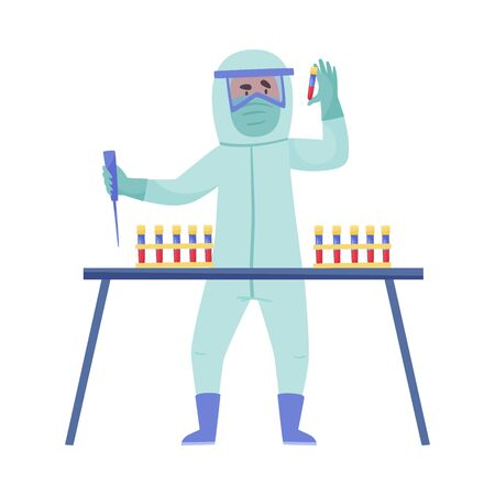 Man in Protective Suit and Mask Examining Blood Test Vector Illustration Çizim