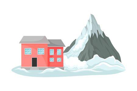 Snowslide Approaching Residential House Standing Nearby Vector Illustration. Destructive Environmental Condition and Life Hazard Concept Ilustración de vector