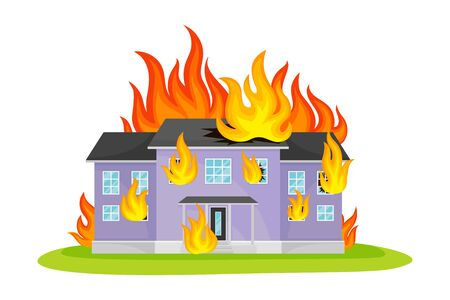 Residential House Engulfed in Flames Vector Illustration. Destructive Environmental Condition and Life Hazard Concept