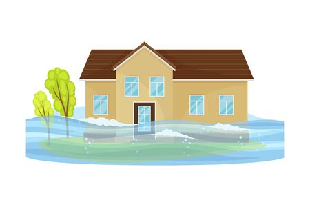 House Undergoing Natural Disaster Like Overflow Water Vector Illustration. Destructive Environmental Condition and Life Hazard Concept