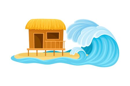 Tsunami Wave Approaching Residential House Standing on Beach Vector Illustration. Destructive Environmental Condition and Life Hazard Concept Çizim