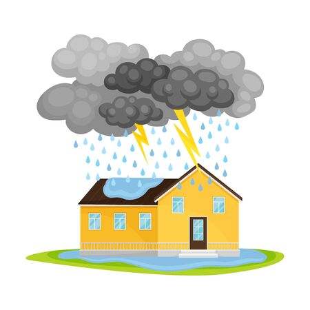 Residential House Undergoing Heavy Rain with Lightning and Thunder Vector Illustration. Destructive Environmental Condition and Life Hazard Concept Vettoriali