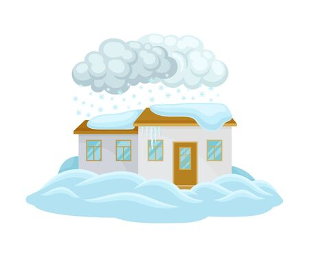 House Undergoing Natural Disaster Like Snow Drifts or Blockage Vector Illustration. Destructive Environmental Condition and Life Hazard Concept
