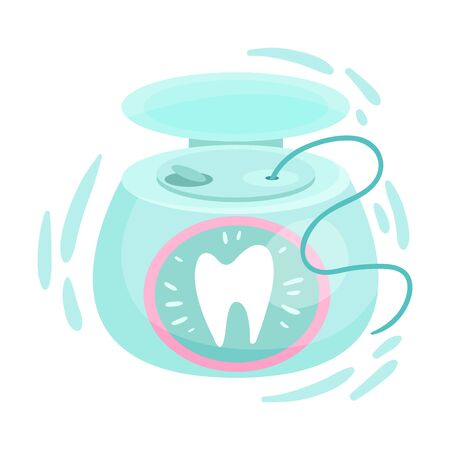 Dental Floss as Personal Hygiene Item and Tooth Care Vector Illustration. Oral Care for Healthy Smile and Gingivitis Prevention Concept