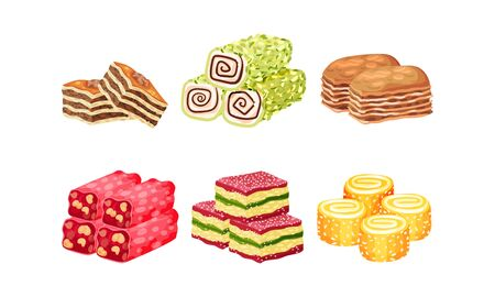 Oriental Sweets and Turkish Delights with Baklava Vector Set. Eastern Desserts and Arabian Sugary Bakery
