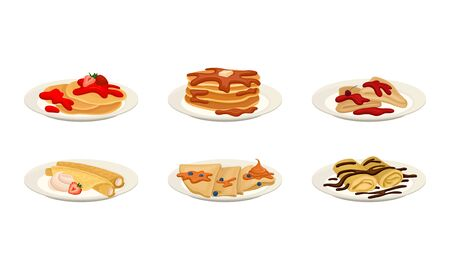 Crepes or Pancakes with Different Stuffing and Toppings Rolled and Folded on Plate Vector Set  イラスト・ベクター素材