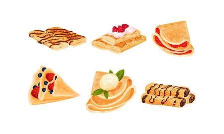 Rolled Crepes or Blinis with Jam and Chocolate Stuffing Vector Set. Traditional Homemade Dessert and Pastry Concept