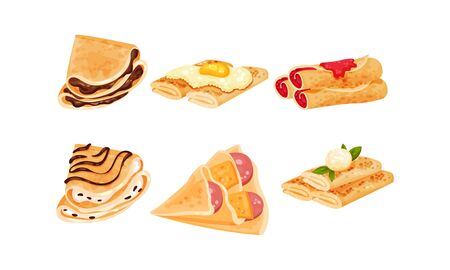 Crepes or Blinis with Different Stuffing Rolled and Folded in Triangle Shape Vector Set. Traditional Homemade Dessert and Pastry Concept
