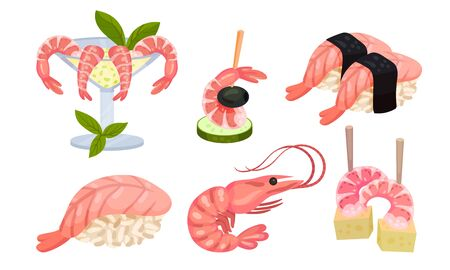 Appetizing Snacks with Shrimp or Prawn Like Canape and Sushi Vector Set. Seafood Starters for Catering or Restaurant Service Concept Illustration