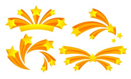 Star Fireworks or Salute Explosion with Flaring Sparkles Vector Set. Celebratory Illumination and Firework Display Concept