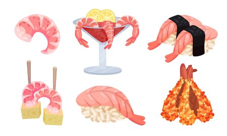 Appetizing Snacks with Shrimp or Prawn Like Canape and Tempura Vector Set. Seafood Starters for Catering or Restaurant Service Concept